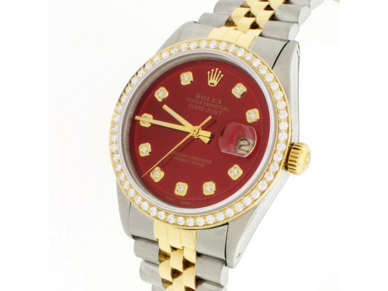 Rolex Datejust 2-Tone 18K Gold/SS 36mm Automatic Jubilee Watch w/Imperial Red Diamond Dial & Bezel