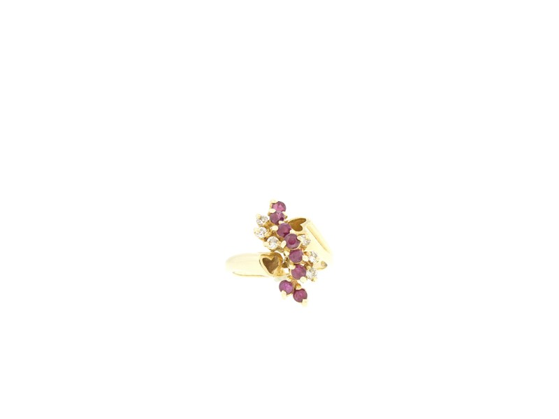 14k Yellow Gold  Diamond and Ruby Cluster Ring