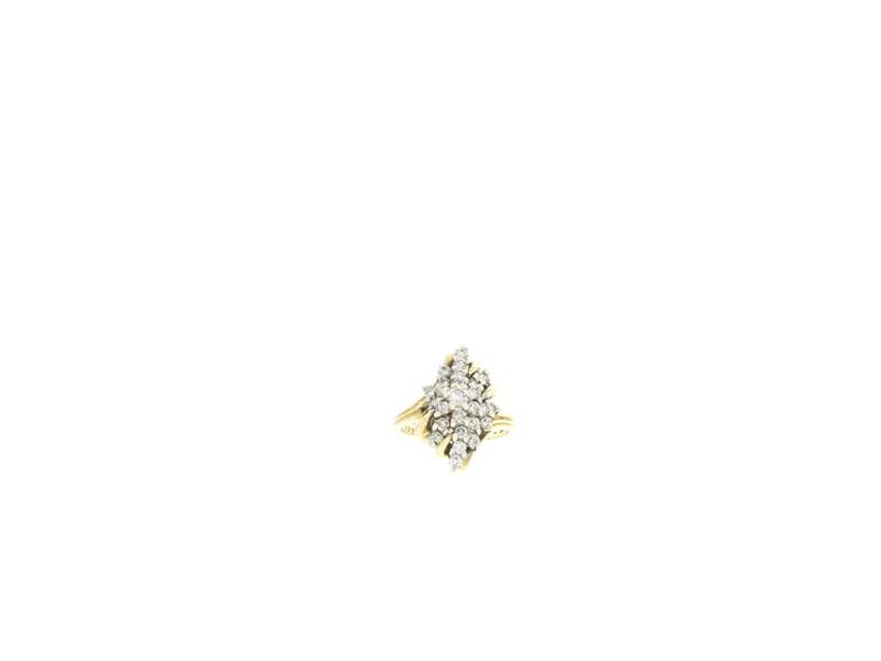 14k Yellow Gold Flower Cluster Diamond Ring