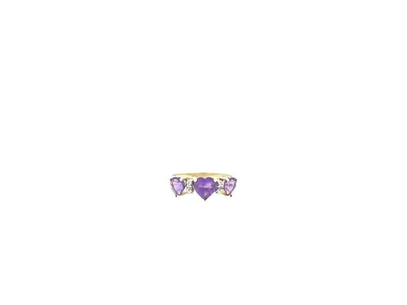 10k Yellow Gold 3 Heart Shape Amethyst and Diamond Ring