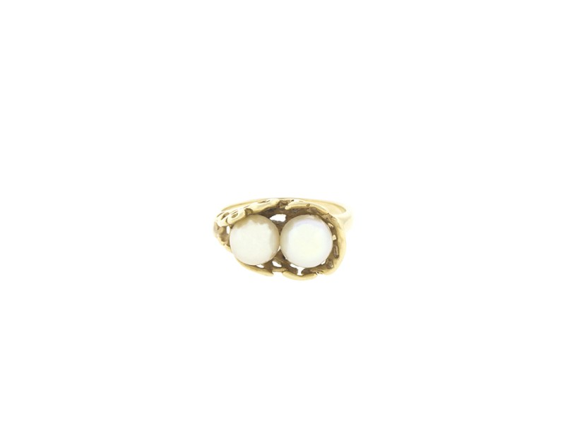14k Yellow Gold AA Akoya Pearl Ring