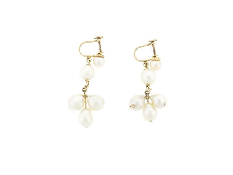 14k Yellow Gold Fresh Water Pearl Drop Earrings