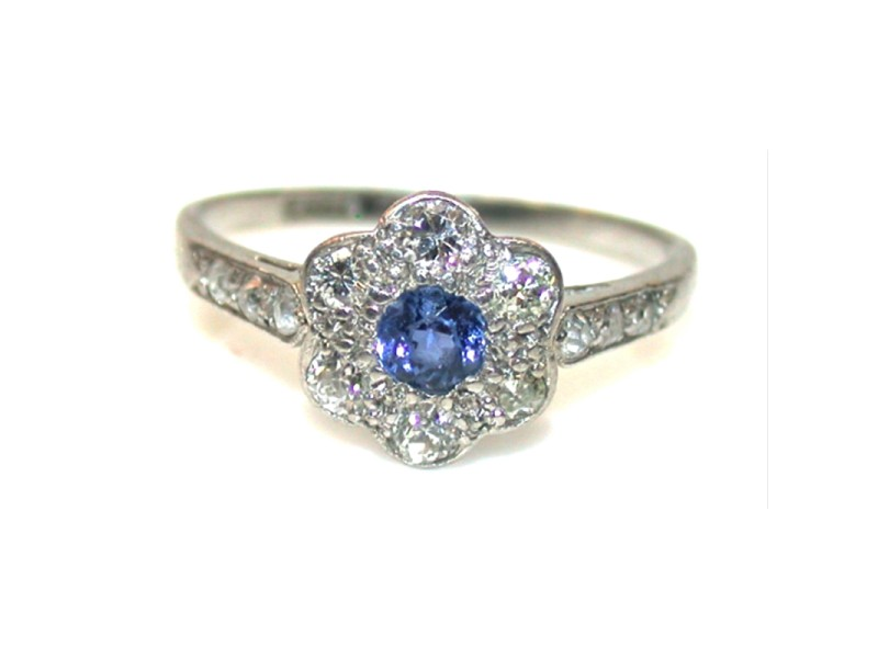 1910 Sapphire and Diamond Cluster Engagement Ring