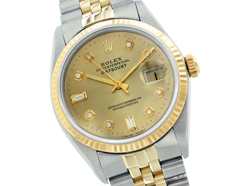 Rolex Datejust 16013 Two-Tone Champagne Diamond Dial 36mm Mens Watch