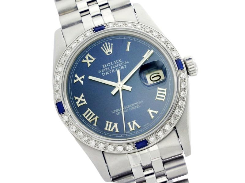 Rolex Mens Datejust Blue Roman Dial and Diamond Bezel Stainless Steel 36mm Watch