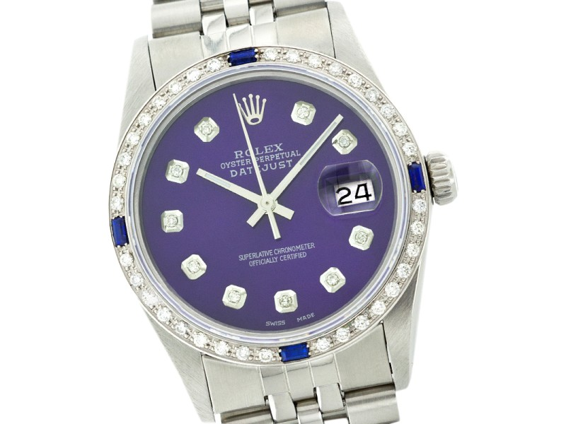 Rolex Mens Datejust Stainless Steel Blue Diamond Dial and Bezel with Sapphire 36mm Watch