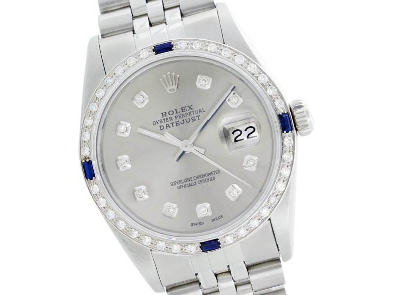 Rolex Datejust 1601 Stainless Steel Silver Diamond Dial & Sapphire 36mm Mens Watch