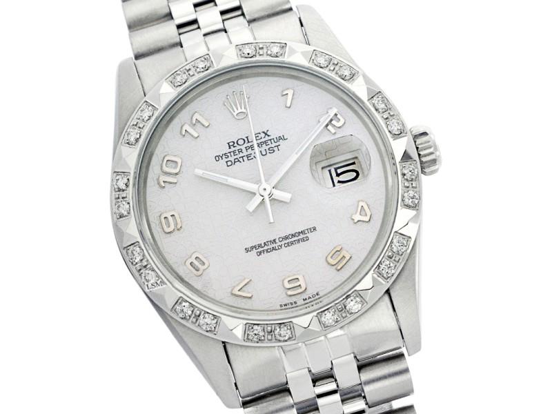 Rolex Datejust 16014 Silver Jubilee Pyramid Diamond Stainless Steel Watch
