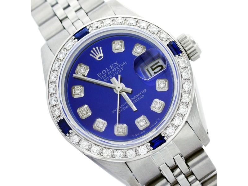 Rolex Datejust 6917 Stainless Steel Blue Dial Diamond & Sapphire 26mm Womens Watch
