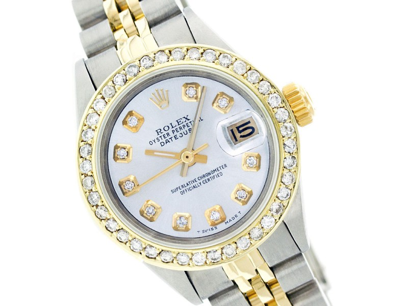 Rolex Datejust 69173 Mop Diamond Two Tone Watch