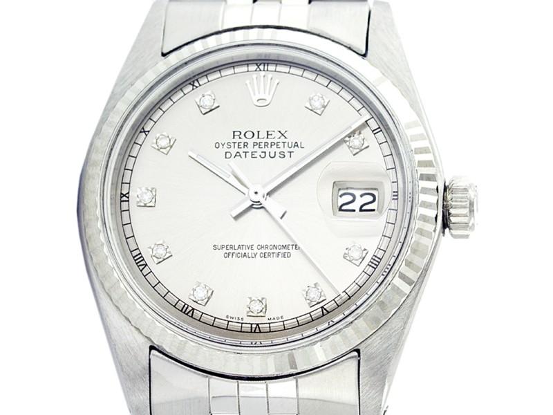 Rolex Datejust 1601 18K White Gold Stainless Steel 36mm Mens Vintage Watch
