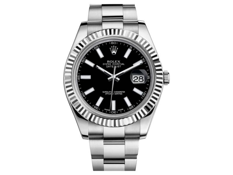 Rolex Datejust II 116334 Steel 18K White Gold Black Dial Mens Watch