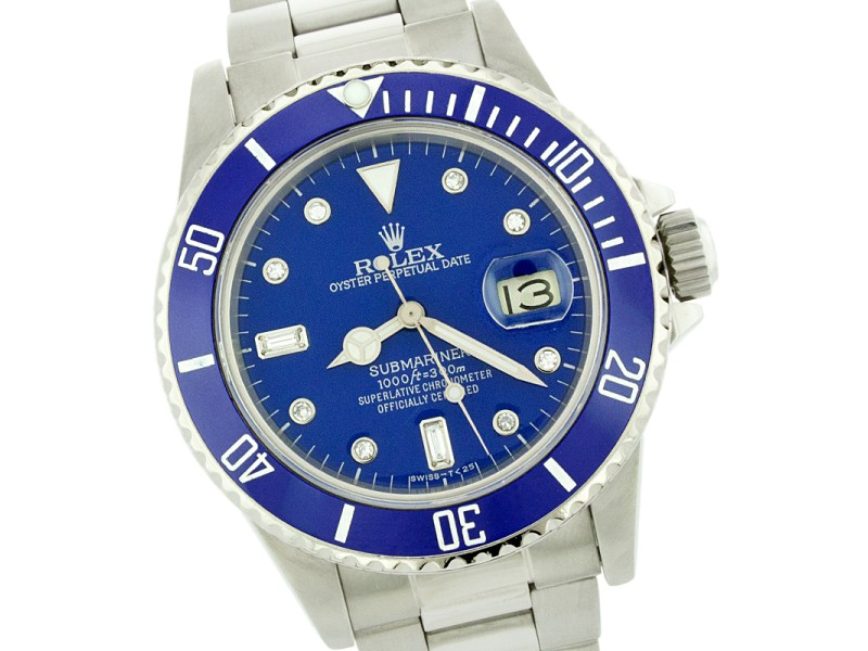 85bd46011895 Rolex Submariner 16610 Stainless Steel   Blue Diamond Dial 40mm Mens Watch