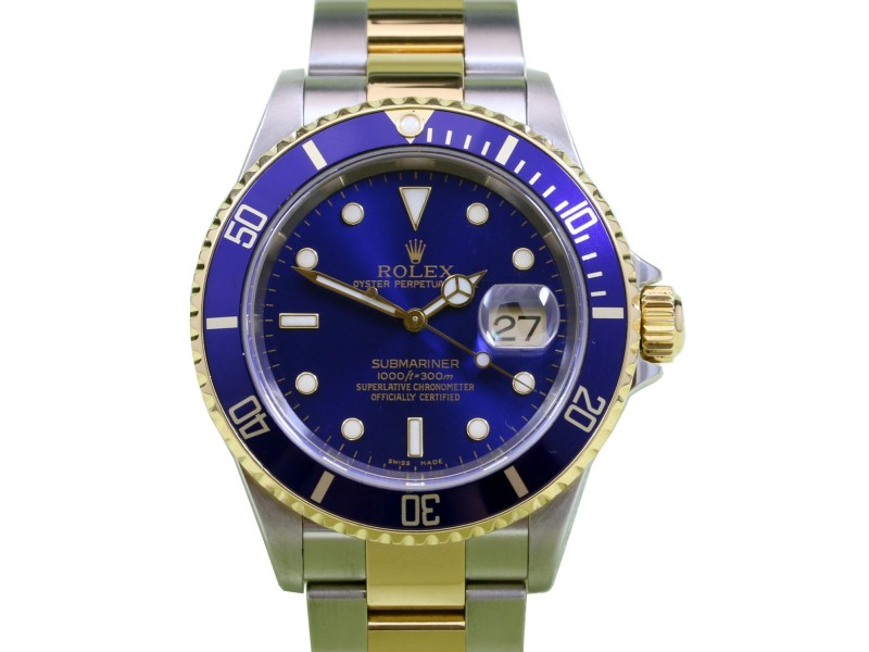 Rolex Submariner 16613 Blue Date 40mm 18k Yellow Gold Stainless Steel Gold-Through Clasp
