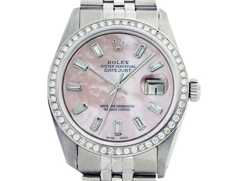 Rolex Datejust 36mm Stainless Steel Pink Mother of Pearl Diamond Baguette Watch