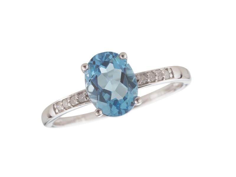 14K White Gold Swiss Blue Topaz and Diamond Birthstone Ring Size 7