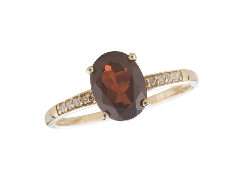 14K Yellow Gold Garnet and Diamond Birthstone Ring Size 7