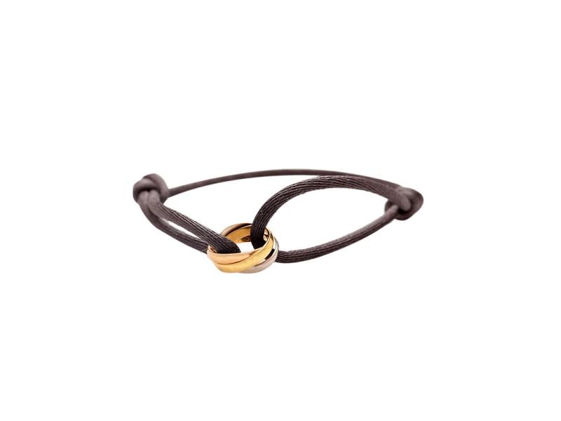 Cartier Rolling Tri Gold 18k Ring Cord Bracelet