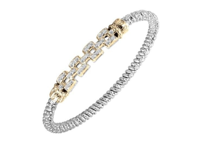 14K Yellow Gold and Sterling Silver Diamond Bangle Bracelet