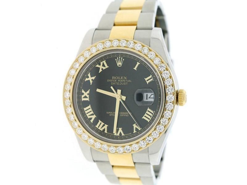 Rolex Datejust II 2-Tone Black Roman 41MM 116333 w/3.07Ct Diamond Box Papers