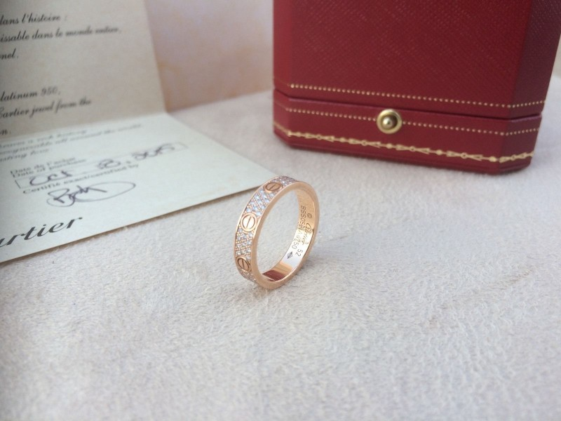 Cartier Love Wedding Ring Pave Rose Gold Size 52