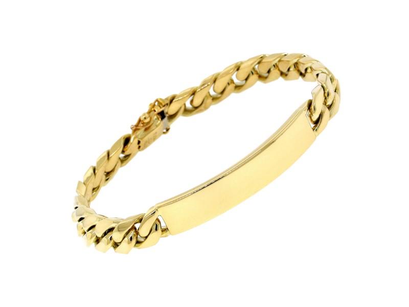 Tiffany & Co. Jewelry 18K Yellow Gold Curb Link Chain ID Bracelet