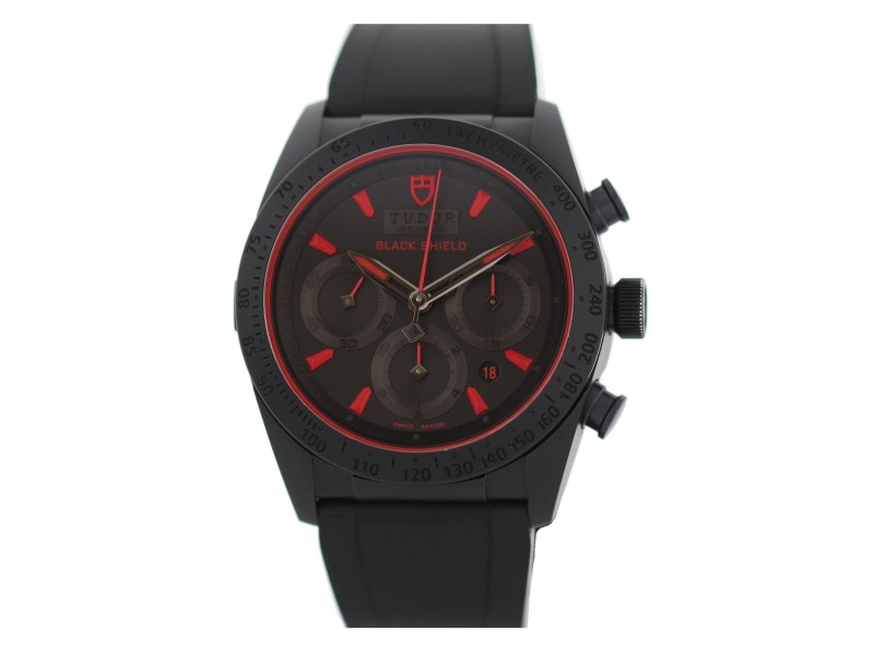 Tudor Fastrider Black Shield 42000C 42mm Mens Watch