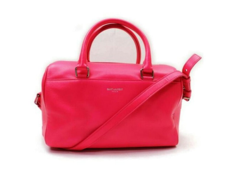 Saint Laurent YSL Classic 12 Hour Boston Duffle with Strap Pink 872863
