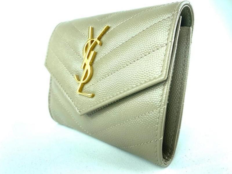 Saint Laurent Monogramme Small Grain de Poudre Tri-Fold Wallet Dusty Grey 860627