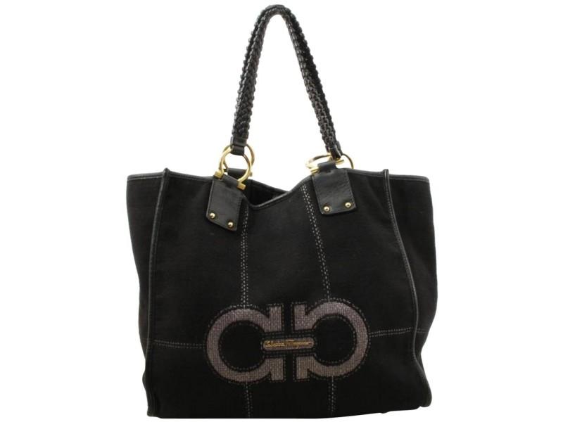 Salvatore Ferragamo Black Gancini Logo Shopper Tote 861086