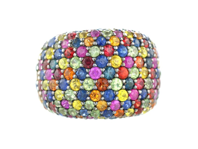 EFFY Sterling Multi-Color Sapphire Splash Large Dome Ring