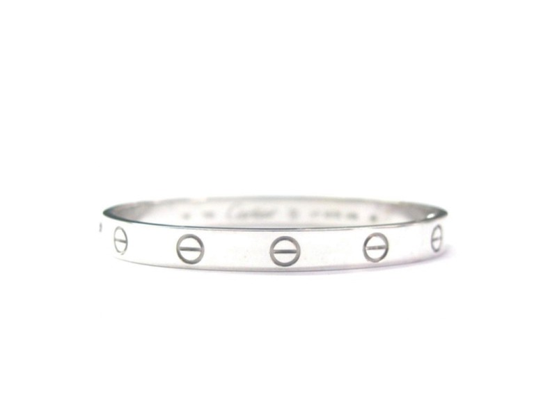Cartier Love 18K White Gold Bracelet, Size 16