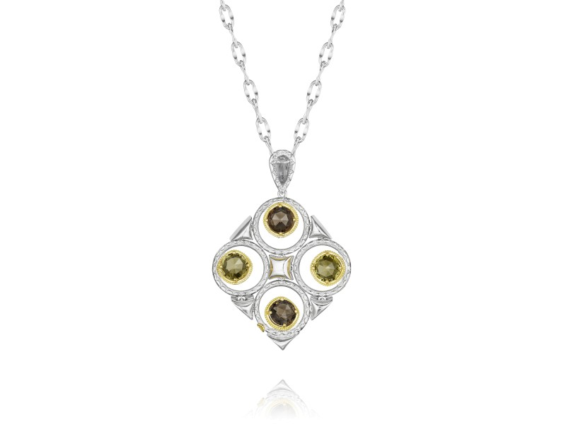 Tacori Smokey and Olive Quartz Silver Necklace