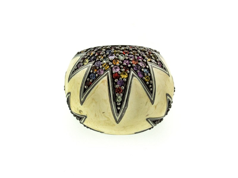 MCL by Matthew Campbell Laurenza Cream Enamel and Mixed Sapphire Ring
