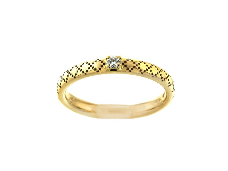 Gucci 18k Yellow Gold Diamond Band Ring