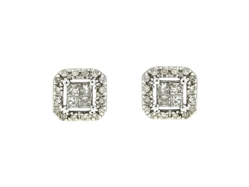 14k White Gold Square Stud Diamond Earrings