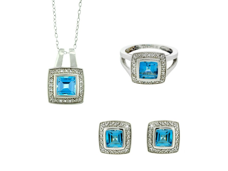 Sterling Silver and Blue Topaz Necklace, Ring, and Earrings Set