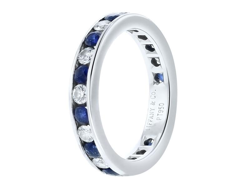 Tiffany & Co. Blue Sapphire and Diamond Platinum Ring