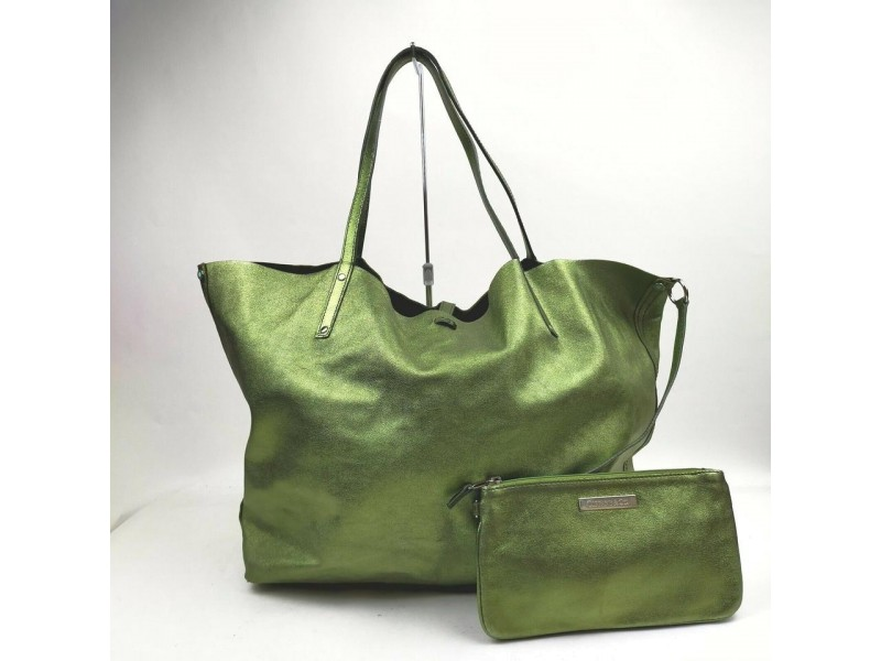 Tiffany & Co. Green Reversible Tote with Pouch 861655
