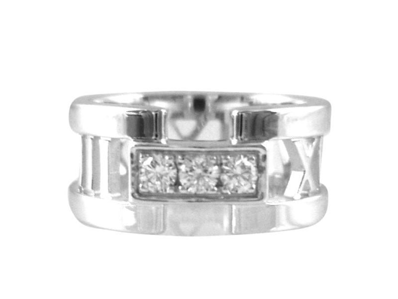 Tiffany & Co.18K White Gold Atlas 3 Diamond Open Wedding Band Ring