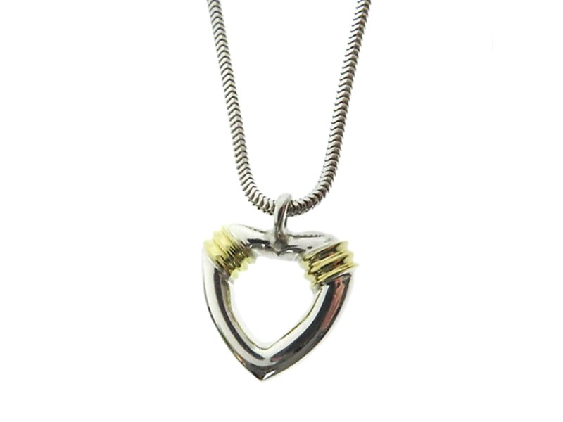 Tiffany & Co. 925 Sterling Silver and 18k Yellow Gold Heart Motif Necklace