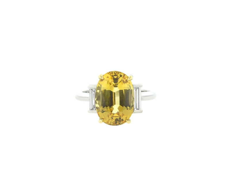 Tiffany & Co. 18K Yellow Gold and Platinum Yellow Sapphire Ring