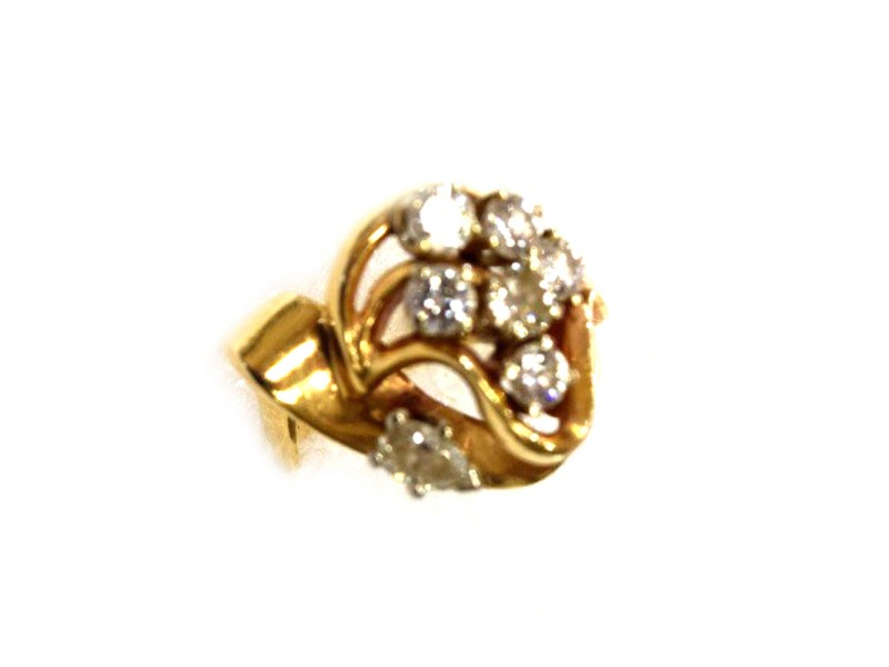Vintage 14K Yellow Gold & Diamond Cluster Ring