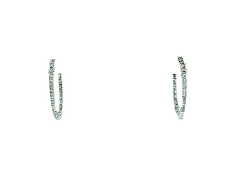Meira T signed 14 K White Gold and Diamonds Small Hoop Earrings