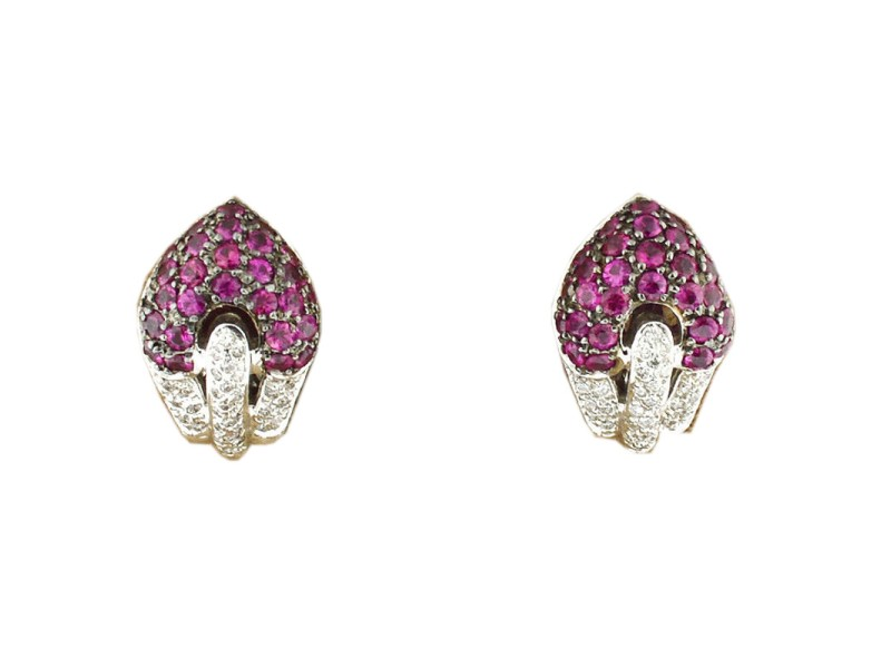 14K White Gold Diamond And Dark Pink Gemstone Heart Earrings