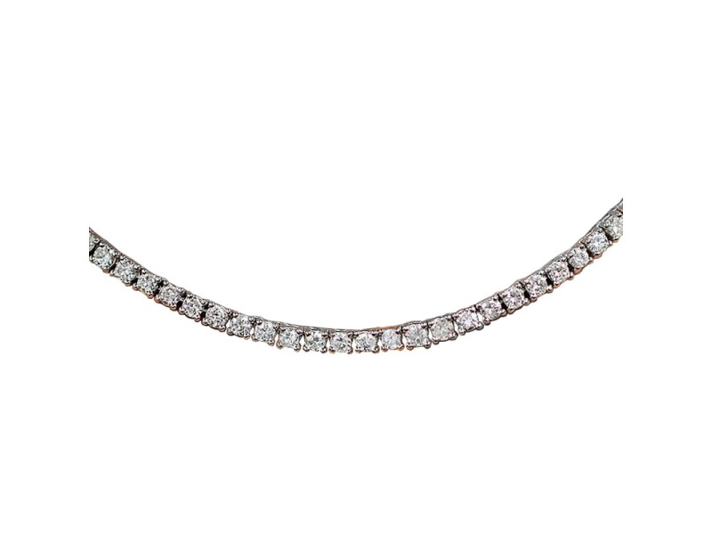 14k White Gold Non Graduated 20ct Eternity Diamond Tennis Necklace
