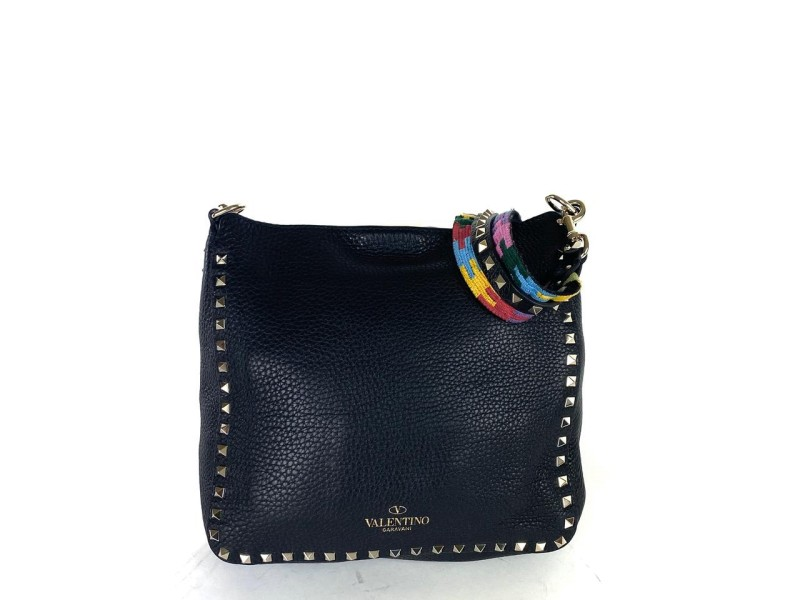 Valentino Flip-Lock Rockstud Black Leather Messenger Limited Multicolor 18val531