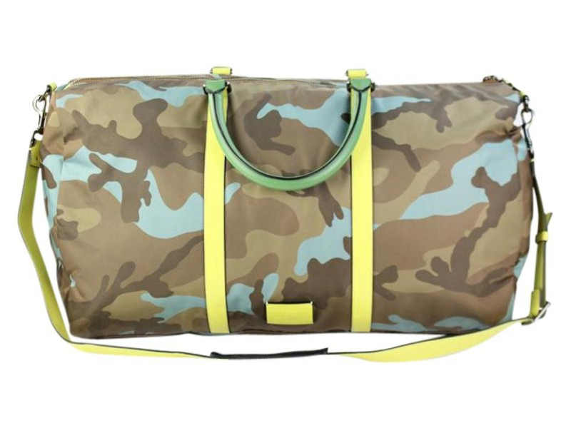 Valentino Duffle ( Ultra Rare ) Neon Camouflage 8vadg6717 Brown Weekend/Travel Bag