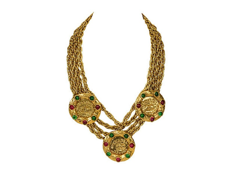 1970s Chanel Gripoix Rare Coin Necklace