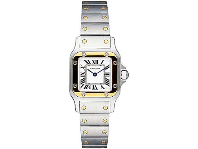 Cartier Santos W20012C4 Stainless Steel and 18K Yellow Gold 24mm Quartz Women